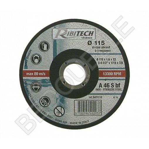 Disque plat à tronçonner l'inox Ø115 mm 115x1,6x22,2